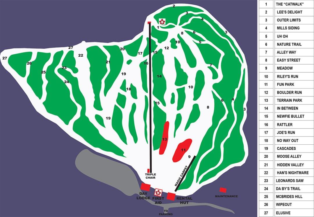 Plans des pistes White Hills